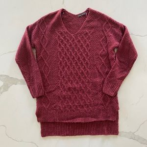 Burgundy Red tunic knitted sweater Size XS/ Small